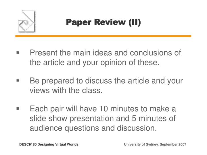 Paper Review (II)