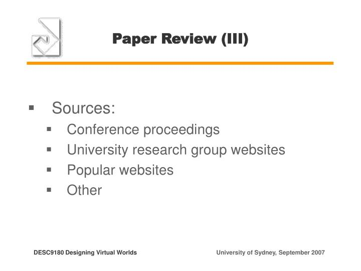 Paper Review (III)