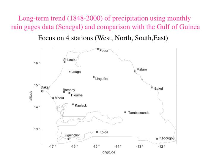 Long-term trend (1848-2000) of precipitation using monthly