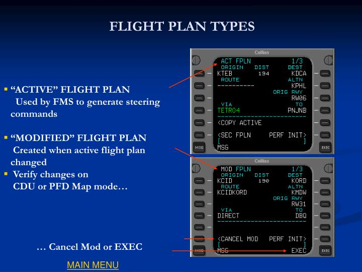 FLIGHT PLAN TYPES