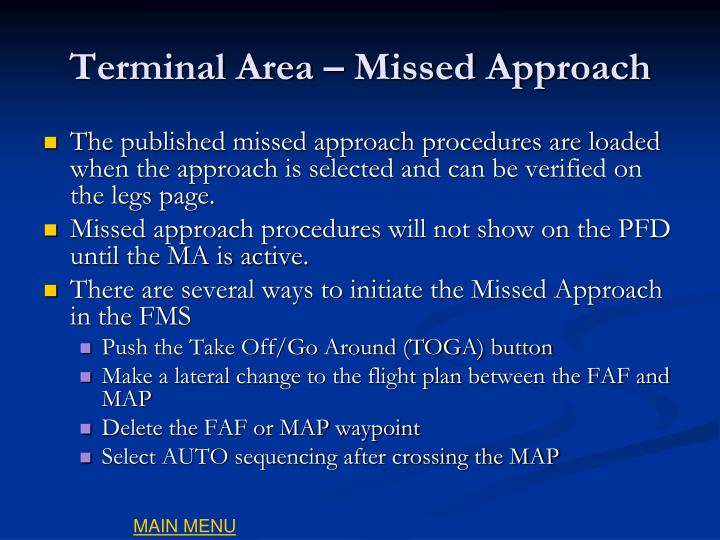Terminal Area – Missed Approach