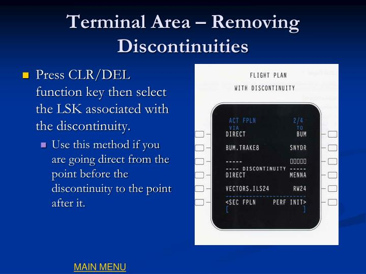 Terminal Area – Removing Discontinuities