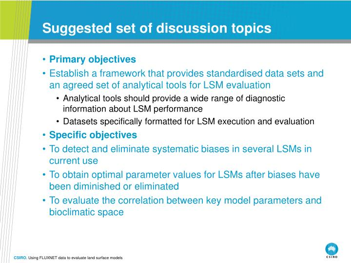 Suggested set of discussion topics
