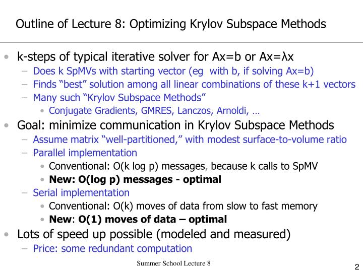 Outline of Lecture 8: Optimizing Krylov Subspace Methods
