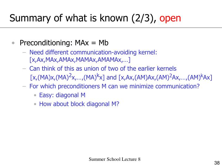 Summary of what is known (2/3),