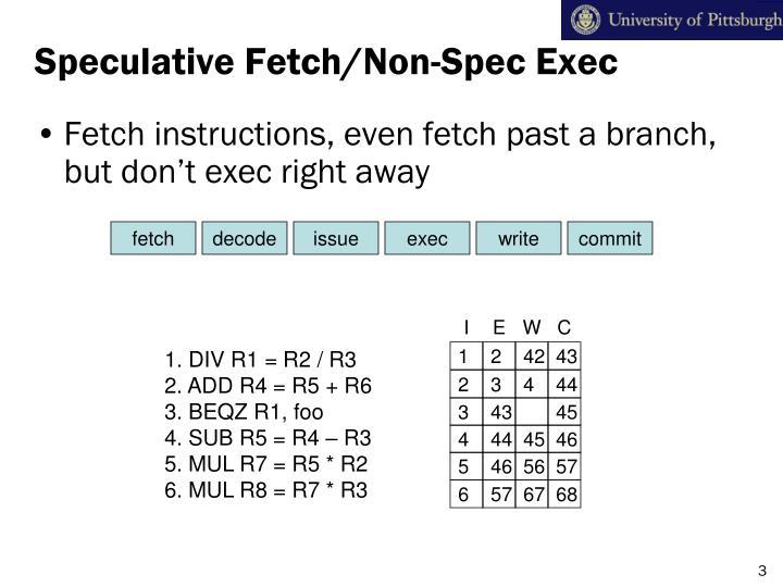 Speculative Fetch/Non-Spec Exec