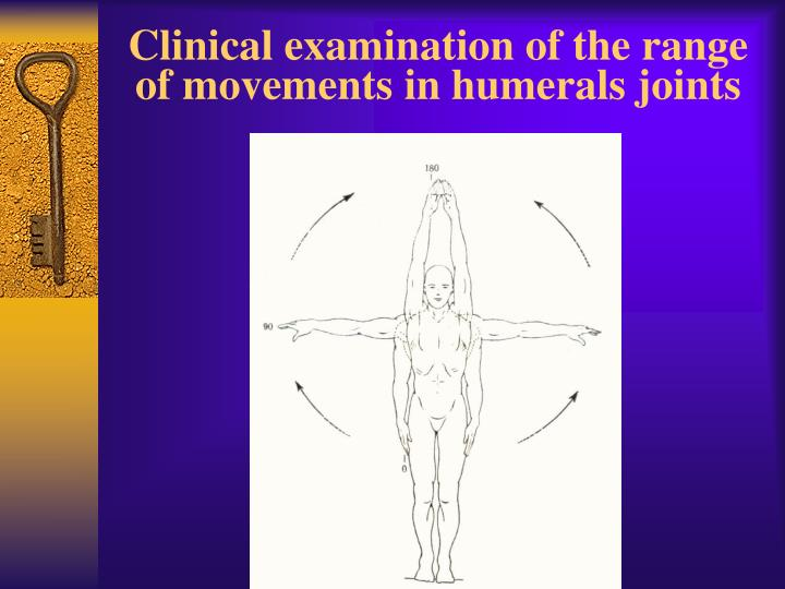 Clinical examination of the range of movements in humerals joints