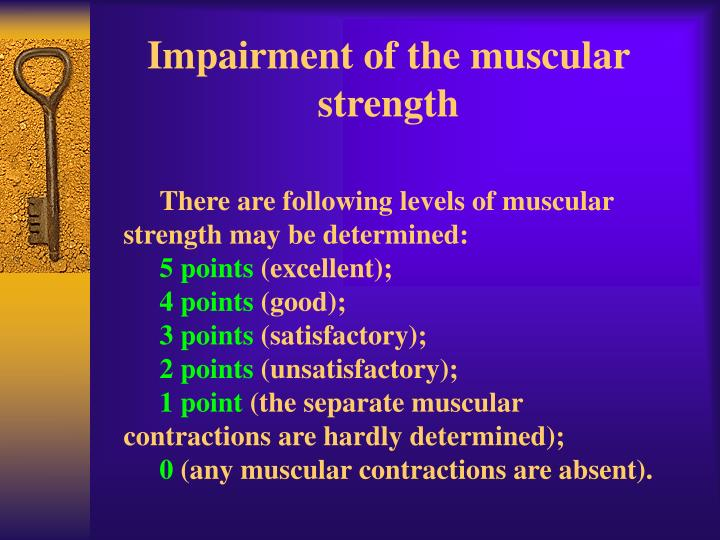 Impairment of the muscular strength