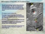 1996 eruption of karymsky and academy nauk