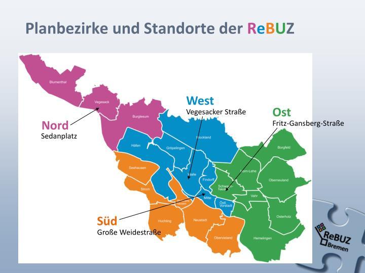 Planbezirke und Standorte der