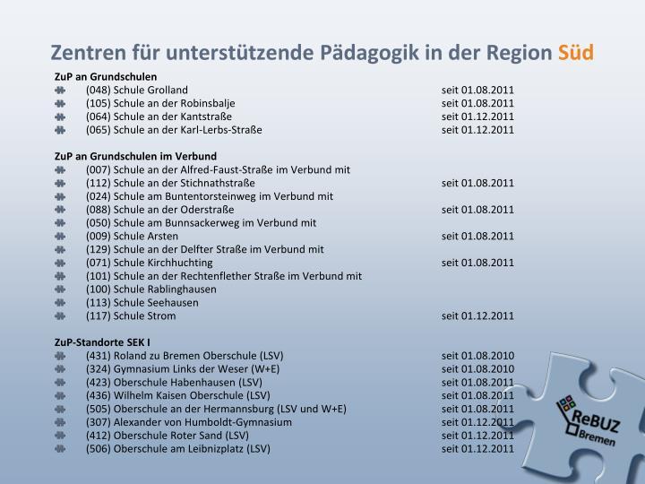 Zentren für unterstützende Pädagogik in der Region