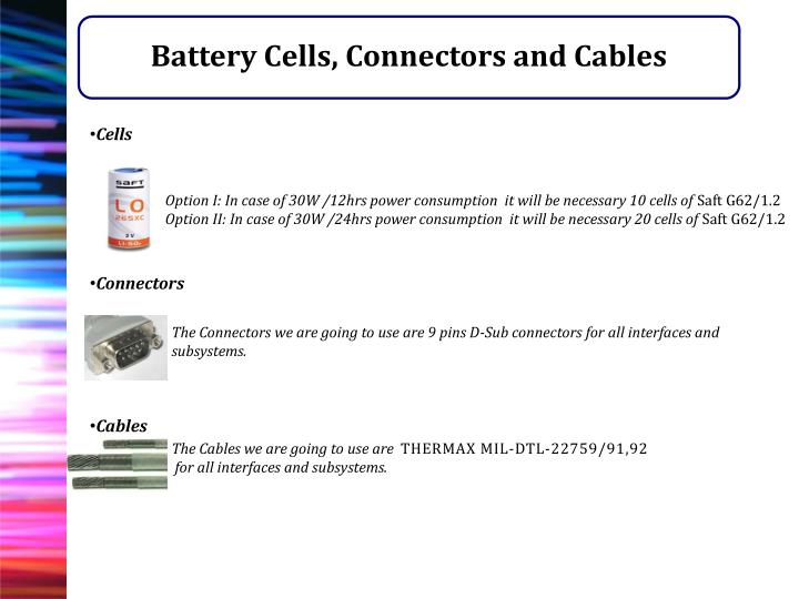 Battery Cells, Connectors and Cables