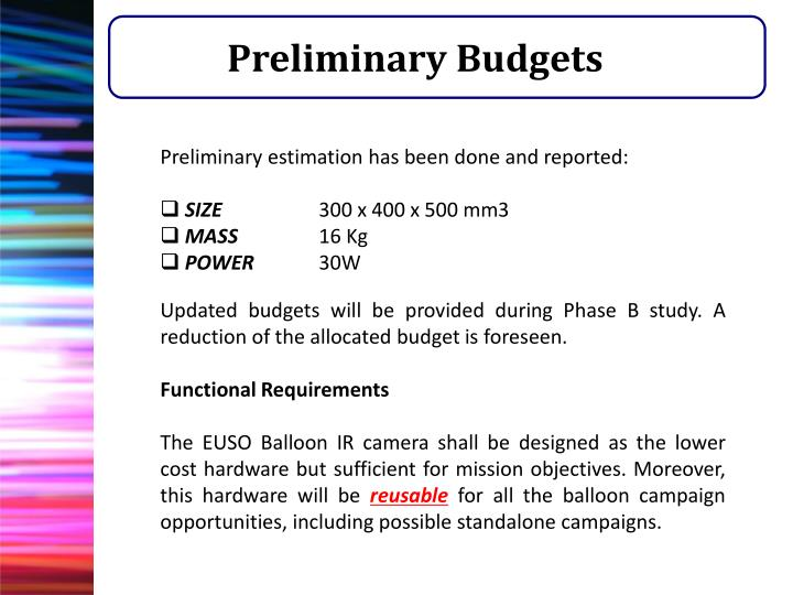 Preliminary Budgets