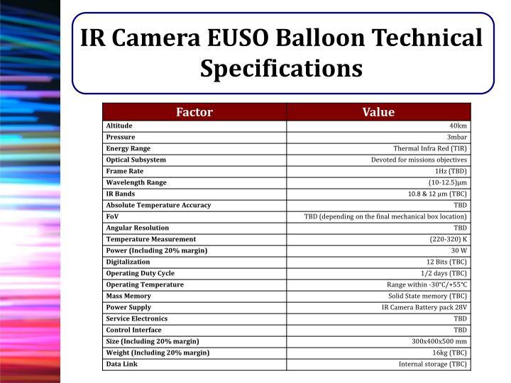 IR Camera EUSO Balloon Technical Specifications