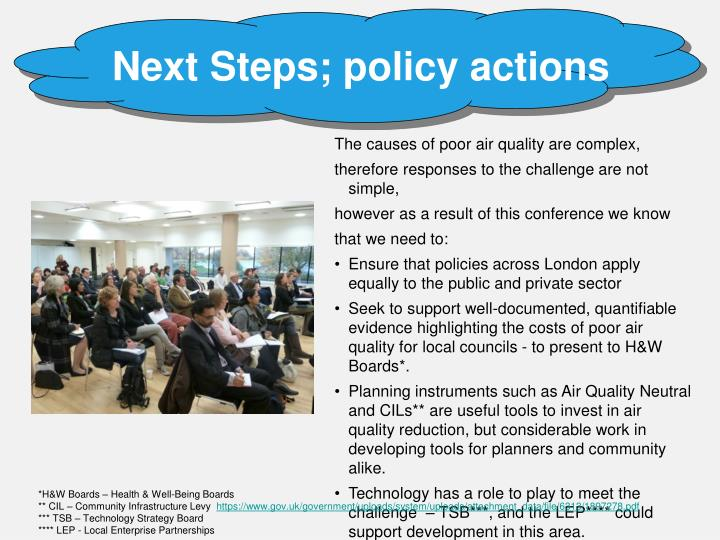 Next Steps; policy actions