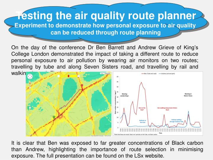Testing the air quality route planner