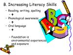b increasing literacy skills