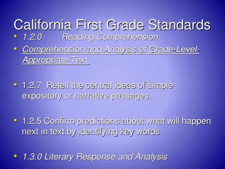 California First Grade Standards
