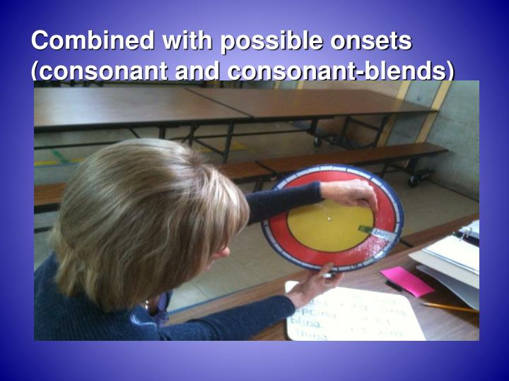 Combined with possible onsets (consonant and consonant-blends)