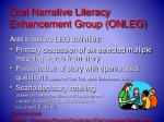 oral narrative literacy enhancement group onleg