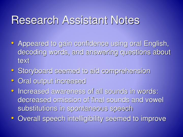 Research Assistant Notes