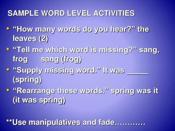 SAMPLE WORD LEVEL ACTIVITIES