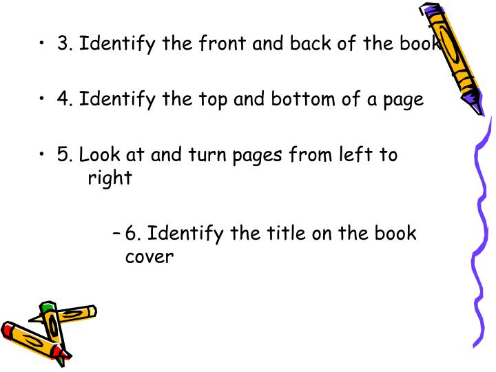 3. Identify the front and back of the book