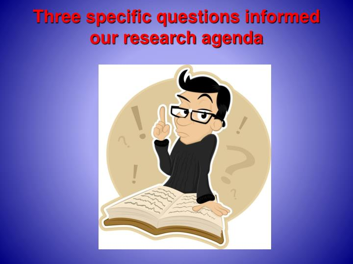 Three specific questions informed our research agenda