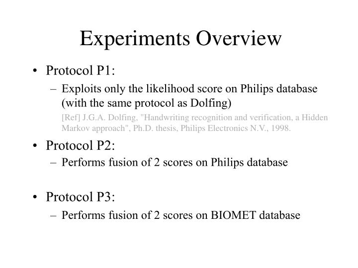 Experiments Overview