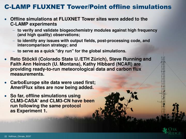 C-LAMP FLUXNET Tower/Point offline simulations