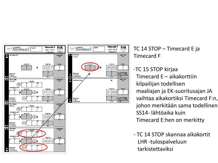 TC 14 STOP – Timecard E ja
