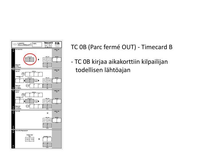 TC 0B (Parc fermé OUT) - Timecard B