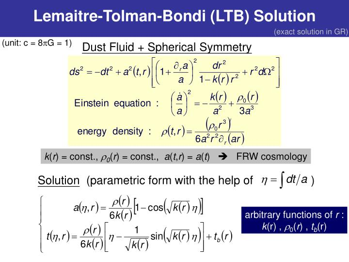 Lemaitre-Tolman-Bondi (LTB) Solution