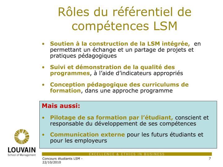Rôles du référentiel de compétences LSM