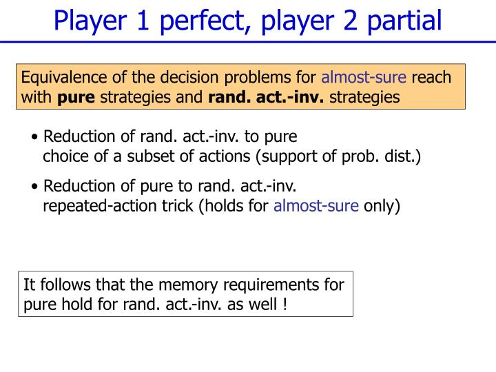 Player 1 perfect, player 2 partial