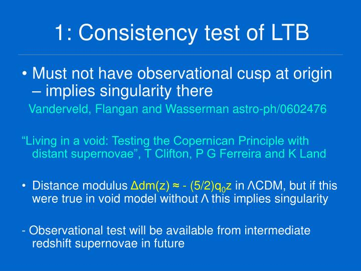 1: Consistency test of LTB