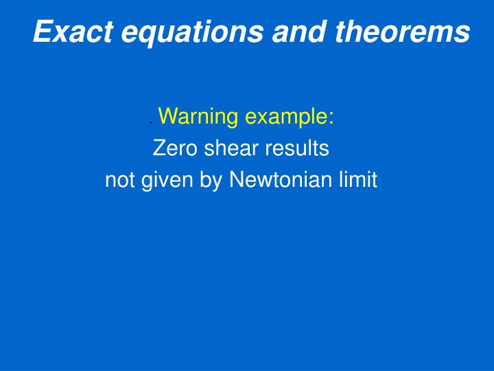 Exact equations and theorems