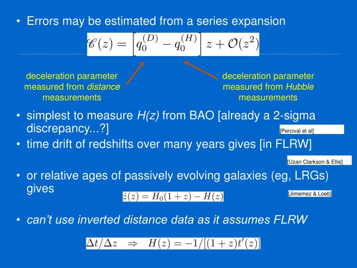 Errors may be estimated from a series expansion