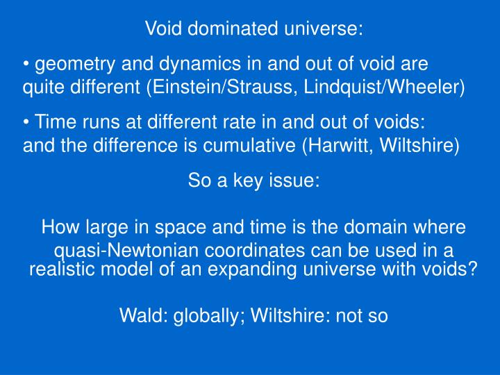 Void dominated universe: