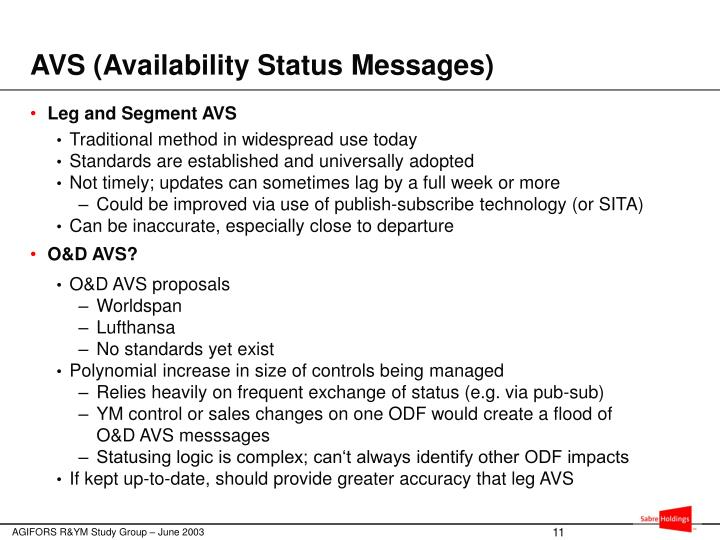 AVS (Availability Status Messages)