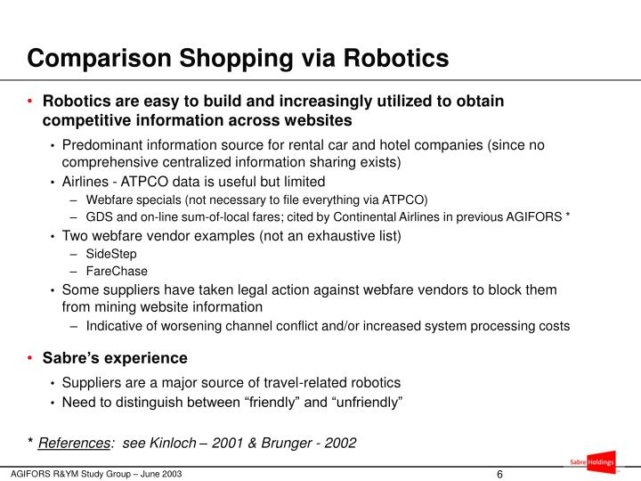 Comparison Shopping via Robotics