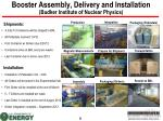 booster assembly delivery and installation budker institute of nuclear physics