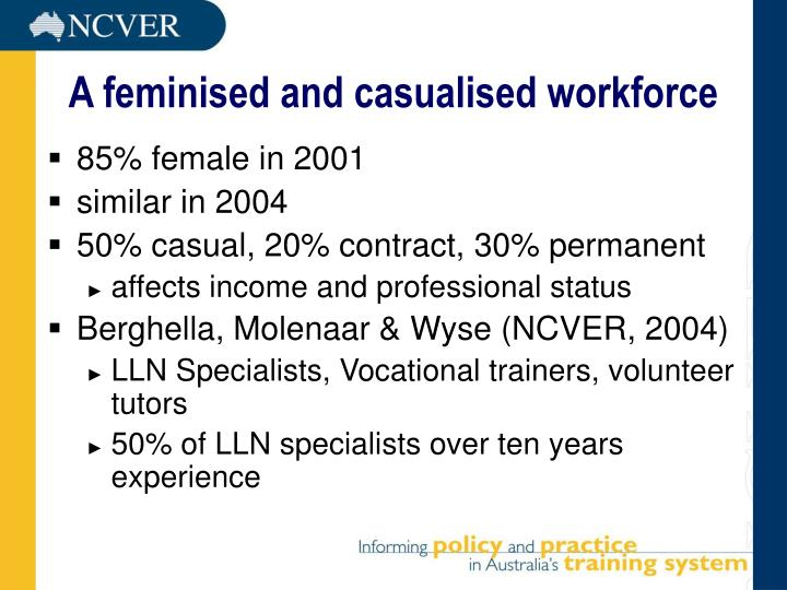 A feminised and casualised workforce