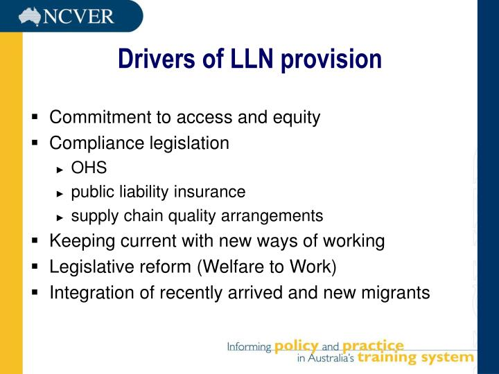 Drivers of LLN provision