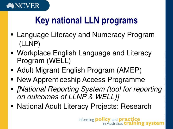 Key national LLN programs