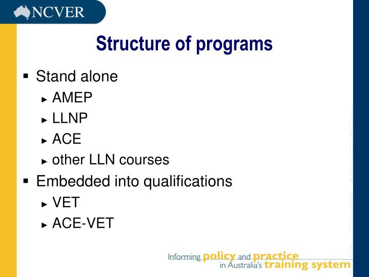 Structure of programs