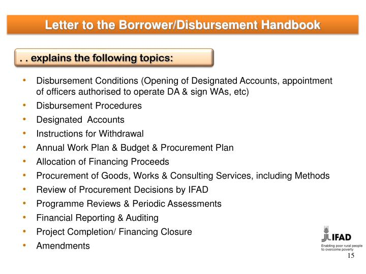 Letter to the Borrower/Disbursement Handbook