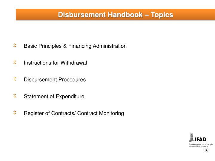 Disbursement Handbook – Topics