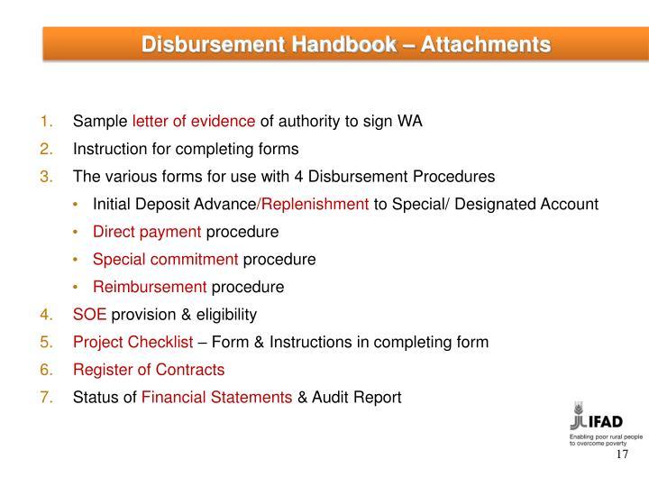 Disbursement Handbook – Attachments