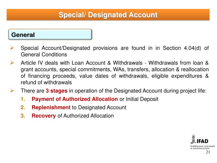 Special/ Designated Account